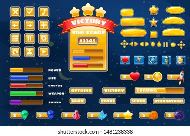 Big set buttons icons elements for Space game cartoon casual games and app. 2D video game UI kit icon for mobile games and background. Graphical user interface, GUI, menu. Vector isolated