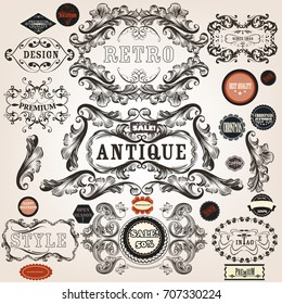 Big set of calligraphic elements in victorian style