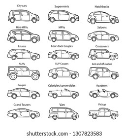 Big set of car body types with text. Simple black outline car icon for your design. Vector illustration