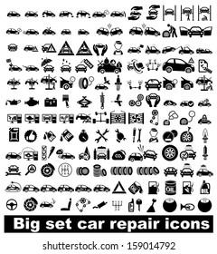 Big set car repair icons. Vector illustration