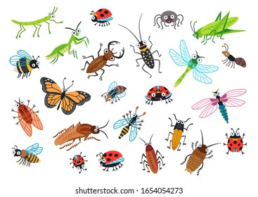 Big set of cartoon beetles. Cartoon bug characters isolated on white background. Collection happy insects. Vector illustration.