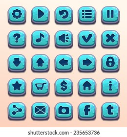 Big set of cartoon blue stone vector buttons for game UI