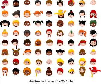 big Set of cartoon children head