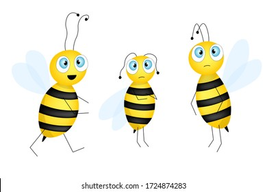 Big set of cartoon cute bee mascot. A small bees flies. Wasp collection. Vector character. Insect icon. Template design for invitation, cards, wallpaper, kindergarten. Doodle style.