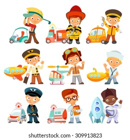 Big set of cartoon kids in various professions with vehicles. Golfer,fireman,taxi driver,aviator,sailor,policeman,doctor,astronaut. Little children in uniform. Vector illustration