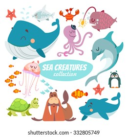 Big set of cartoon sea creatures isolated on white background.Whale,sea star,fishes,shark,octopus,crab,penguin,dolphin,walrus,sea turtle,jellyfish.