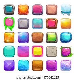 Big set of cartoon square buttons, vector gui assets collection for game design