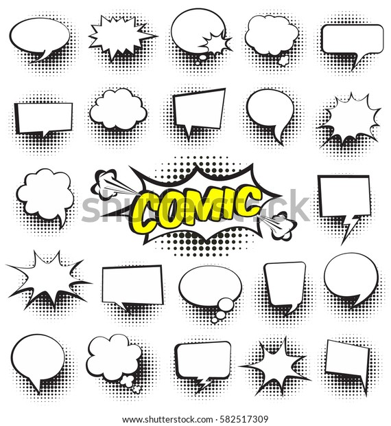 Big Set of Cartoon,Comic Speech Bubbles, Empty Dialog Clouds with Halftone Dot Background in Pop Art Style. Vector Illustration for Comics Book , Social Media Banners, Promotional Material