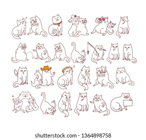 Big set of cats stickers emojis good and bad pets emotes smoking, arguing, love and other diary and planner character cute collection vector illustration