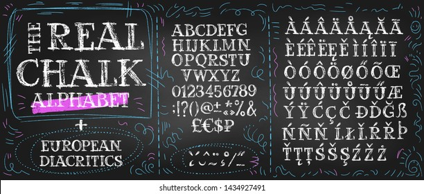 Big set of chalk alphabetical characters, numbers, special symbols and currency sings. English types plus diacritics and prepared european letters.