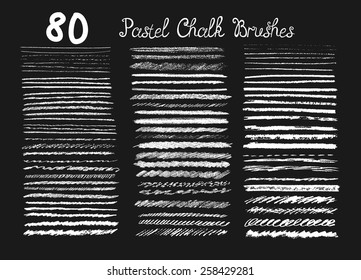 Big set of chalk brushes. Hand drawn pastel  lines.