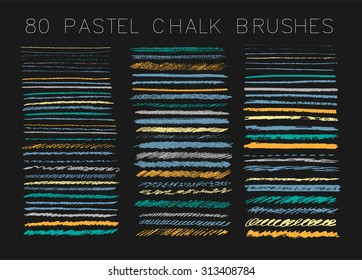 Big set of chalk brushes. Hand drawn  lines and textures.