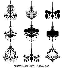 Big set with chandelier silhouette isolated on White background. Vector collection