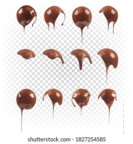 Big set of chocolate round shapes isolated on white transparent background. Vector 3d realistic illustration of chocolate liquid dessert. Sweet chocolate element.