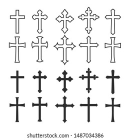 Big set christian cross vector symbol flat and outline style.  isolated on white background.