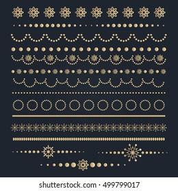 Big set of Christmas calligraphic borders. Vector illustration