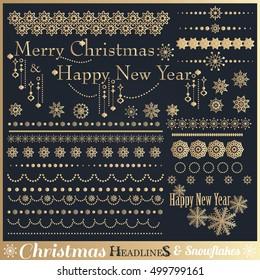 Big set of Christmas calligraphic design elements. Vector illustration