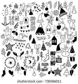 Big set of Christmas doodles. Hand drawn vector icons. Xmas and New Year scrapbook stickers. Candle, garland, cookies, house, tree, socks, mitens, candy, present Simple scandinavian hygge style