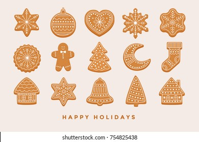 Big set Christmas gingerbread: gingerbread houses, crescent, gingerbread man, snowflakes, sock, Christmas tree, bell, star, new year's ball on light background. Vector illustration.
