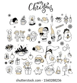 Big set with christmas icon, logos and design elements/ new year decor