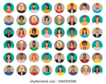 Big set of circle avatars. 48 persons, people heads different nationality. Vector design, characters in flat style.