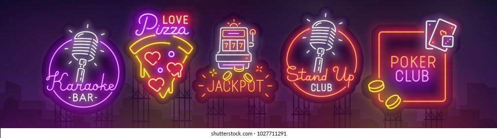 Big set city billboard. Pizza neon sign, Karaoke, Casino and Stand Up neon sign. Web banners. Night city. Vector illustration