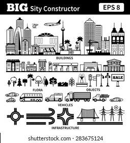 Big set with city elements to make your own city. Vector black and white monochrome illustrations isolated on white background