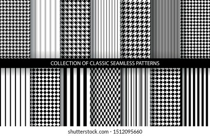 Big set of classic fashion houndstooth seamless geometric patterns. Variations of pied de poule print