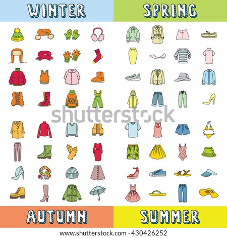 Big Set Clothing Icons Winter Spring Stock Vector (Royalty ...
