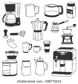 Big set of coffee equipment. Hand drawn icon collection, coffee set. Doodle background with sketch objects. Black and white elements