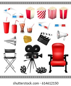 Big set of collection elements of cinema isolated on a white background vector illustration. Composition poster postcard with retro camera director, film, 3D-glasses, when ticket, popcorn, speaker.