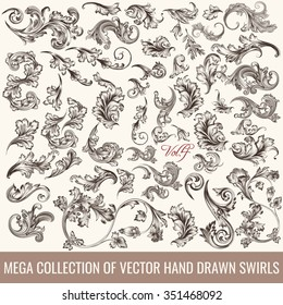 Big set or collection of hand drawn flourishes in engraved vintage style for design