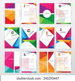 big set collection of trendy geometric triangular design style letterhead and brochure cover template mockups for business visual identity with letter logo elements- polygonal style