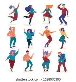 Big set, collection of various people, men and women, slim and chubby dancing and singing happily, flat style vector illustration isolated on white background. Set of dancing people, men and women
