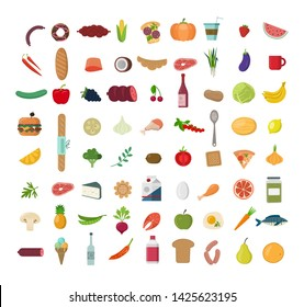 Big set of  colored  food Icons. Collection of various meal, fish and meat, vegetables and bread.