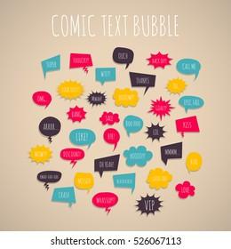 Big set colored hand drawn cartoon comic text speech bubbles. Comic text book background style pop art Comic font letters dialog cloud text pop art Creative idea comic text collection sketch explosion