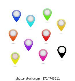 Big set of colored pointers, emblems, logos, buds, business, road, vector illustration