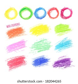big set of colored spots wax crayon, isolated on white background