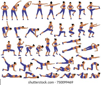 Big set of colored vector silhouettes of slim woman in costume doing fitness workout in many different position. Many icons of girl doing sport exercises. Active and healthy life concept.