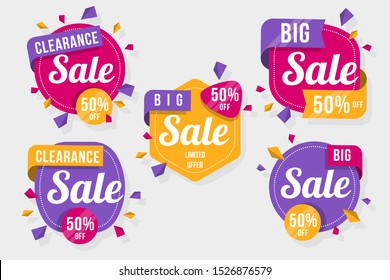 Big set of colorful abstract chat label. Vector discount and promotion banners