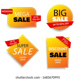 Big set of colorful abstract chat label. Sale banner collection, discount tag, special offer.
