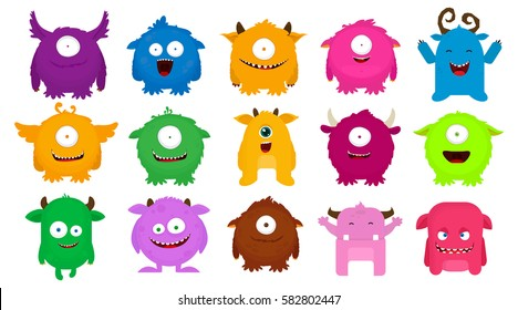 Big Set of colorful cartoon cute monsters. Vector illustration. Flat design.