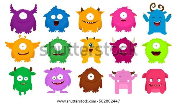 Big Set of colorful cartoon cute monsters. Vector illustration. Flat design.