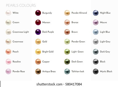 Big set of colorful pearls. White, cream, ?remrose, peach, rosaline, powder rose, burgundy, maroon, dark purple, gold, bright gold, copper, antique brass, powder almond, bronze and other colors.