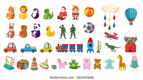 Big set of colorful toys for children. soft toys, bear, bunny, giraffe, logical toys, toy soldiers, rocket, cars, steam locomotive, balls.Cartoon vector illustration.