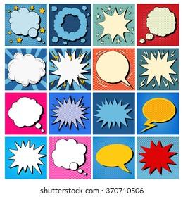 Big Set of Comics Bubbles in Pop Art Style. Vector illustration