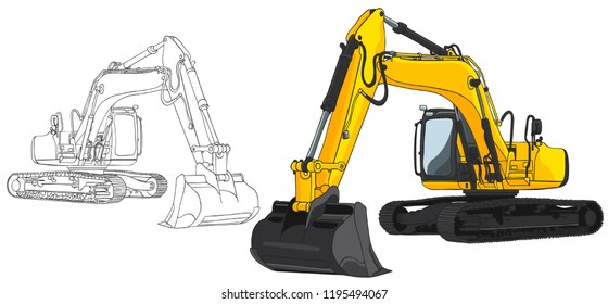 Big set of construction equipment. Special machines for the construction work. excavators,Commercial Vehicles