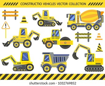 Big set Construction Vehicles Collection. Ornament decor for children construction Birthday party. Forklift, excavator, tractor, bulldozer, mixer, road roller, trucks. Vector illustration.
