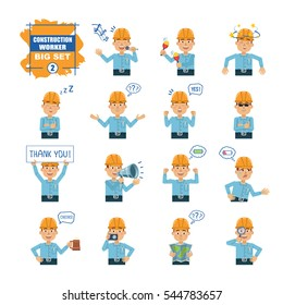 Big set of construction worker emoticons showing different actions, emotions, gestures. Cheerful worker singing, holding loudspeaker, banner, map and doing other actions. Simple vector illustration