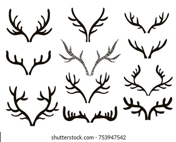 Big set of contours horns, antlers. Icon collection black silhouettes of hunting trophies. Interior decorate doodle elements for design . Vector illustration.